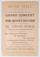 Flyer advertising the U.S. debut of Antonín Dvořák, October 21, 1892