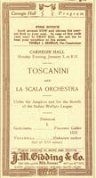 Concert program for the Carnegie Hall debut of conductor Arturo Toscanini, January 3, 1921