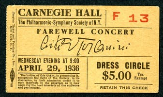Ticket for Arturo Toscanini's farewell appearance with the New York Philharmonic, April 29, 1936