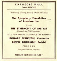 Program for Benny Goodman's concert with Symphony of the Air, 1955