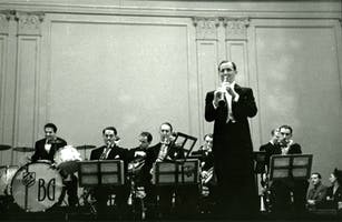 Benny Goodman and his orchestra on stage at Carnegie Hall, 1938
