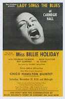 Flyer for Billie Holiday concert at Carnegie Hall, November 10, 1956