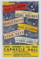 Flyer for a star-studded Carnegie Hall concert: Duke Ellington, Billie Holiday, Charlie Parker, Dizzy Gillespie, Stan Getz, and The Amad Jamal Trio