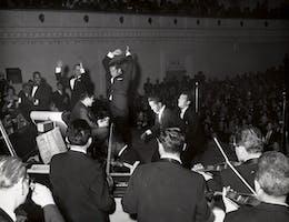 Frank Sinatra, Buddy Hackett (seated on stool), Jan Murray, Sammy Davis Jr., and Dean Martin