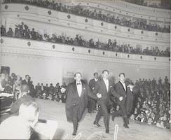 Frank Sinatra, Sammy Davis Jr., Jan Murray, and Dean Martin at Carnegie Hall