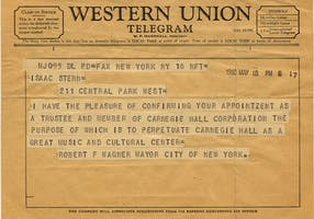 Telegram from Mayor Wagner to Isaac Stern, confirming the saving of the Hall, 1960