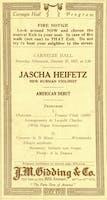 Program from Jascha Heifetz American debut at Carnegie Hall, October 27, 1917