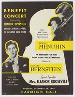 Flyer for the United Jewish Appeal benefit concert depicting Leonard Bernstein and Yehudi Menuhin, 1948