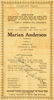Signed program from Marian Anderson's Carnegie Hall recital debut, 1928