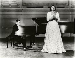 Marian Anderson and Franz Rupp on stage at Carnegie Hall, 1955