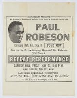Ad for Paul Robeson's Carnegie Hall repeat performance, 1958