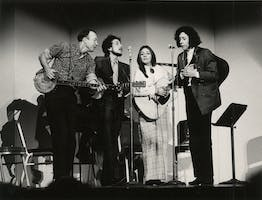 Pete Seeger, Bob Dylan, Judy Collins and Arlo Guthrie performing, January 20, 1968.