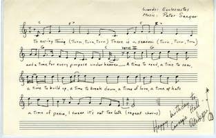 Sheet music autographed to Carnegie Hall by Pete Seeger