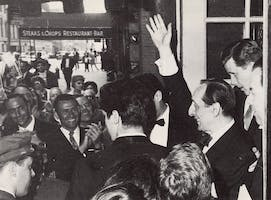 Vladimir Horowitz greets fans at the stage door, 1965