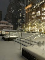 Snow-covered steps on the Weill Terrace at night, white winter lights on trees in the background