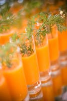 """Tall shots of carrot, grapefruit, ginger, and serrano """"liquid gold"""" juice with parsley garnish"""