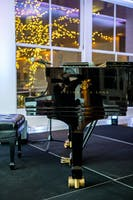 Polished Steinway and Sons piano in the Weill Terrace Room, white holiday lights in the background