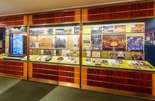 A permanent exhibit in the Rose Museum that chronicles the history of Carnegie Hall's building