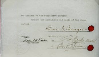Louise Carnegie's signature on the 1925 deed of sale for Carnegie Hall. Courtesy of the Carnegie Hall Archives.