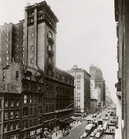 The Carnegie Hall street scape in the mid-1950s. Courtesy of the Carnegie Hall Archives.