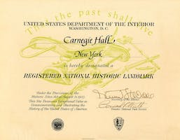 Carnegie Hall's official designation as a Registered National Historic Landmark.