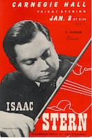 Flyer for Isaac Stern's Carnegie Hall debut accompanied by pianist Alexander Zakin on January 8, 1943. Courtesy of the Carnegie Hall Archives.