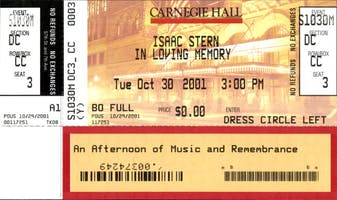 Ticket for the October 30, 2001, concert in memory of Isaac Stern, who had died the previous month. Courtesy of the Carnegie Hall Archives.
