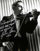 Photograph autographed by Isaac Stern to Carnegie Hall in 1950. Courtesy of the Carnegie Hall Archives.