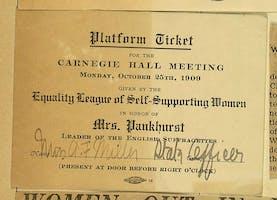 Platform ticket for a Carnegie Hall Meeting to honor Emmeline Pankhurst, October 25, 1909.