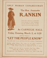 Advertisement for a Carnegie Hall lecture by Jeannette Rankin, March 2, 1917.