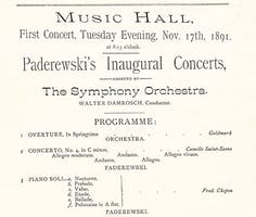 Advertisement for Paderewski's Carnegie Hall debut on November 17, 1891. Courtesy of the Carnegie Hall Archives.