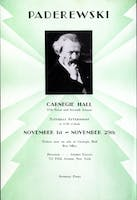 Flyer for a pair of Paderewski's later concerts in November 1930. Courtesy of the Carnegie Hall Archives.