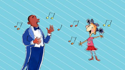 A graphic with a blue background shows a man in a tuxedo singing with a girl with bright clothes.