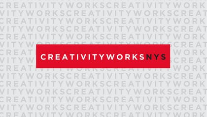 """CreativityWorksNYS"" in white letters in a red rectangle with text in grey letters in the background"