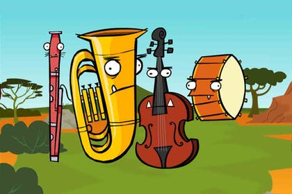 An illustration of personified orchestra instruments