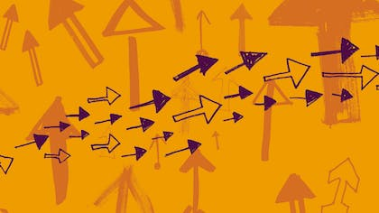 Illustrations of purple arrows fly across an orange background with arrows