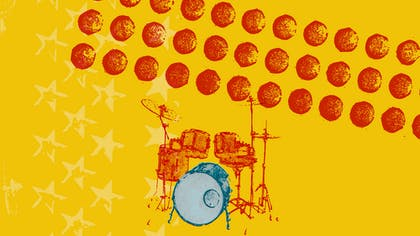 An illustration of a drum kit against an orange background with red polka dots
