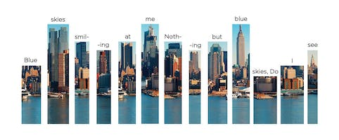 Graphic depicting cut-outs of the New York City skyline