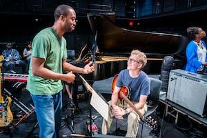 Guitar faculty member Dan Wilson with NYO Jazz guitarist Nico Wohl