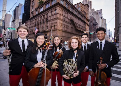 NYO-USA students in front of Carnegie Hall