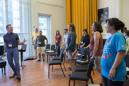 "Summer Music Educators Workshop ""Engaging Students in Inquiry and Reflection"" workshop led by Richard Mannoia."