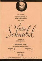 Flyer for Artur Schnabel's performances of Beethoven's piano sonatas in 1936