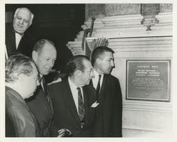 Isaac Stern (left), Carnegie Hall Chairman Frederick W. Richmond, Mayor Robert F. Wagner Jr., and Secretary of the Interior Stewart L. Udall at the unveiling of the Hall's Registered National Historic Landmark plaque, November 6, 1964