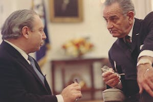 Isaac Stern in the Oval Office with President Lyndon B. Johnson, 1964