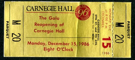 A gold-foil ticket for the gala reopening of Carnegie Hall on December 15, 1986, an event that marked Horowitz's final appearance at the Hall.
