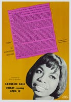 An advertisement for Simone's 1963 concert at the Hall, featuring writing by Langston Hughes