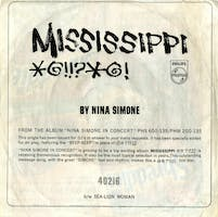 """A 45 record and sleeve featuring """"Mississippi Goddam"""" (1964), released as a single"""