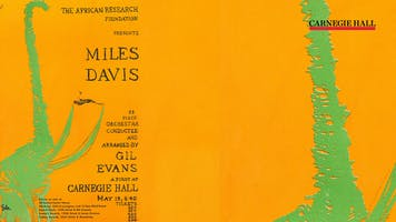 An illustrated vintage poster for a Miles Davis concert at Carnegie Hall