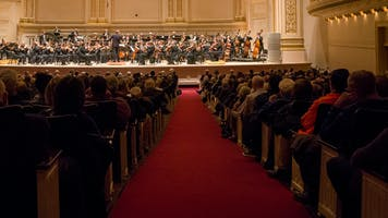 A symphony concert in Carnegie Hall's Stern Auditorium / Perelman Stage as seen from the Parquet