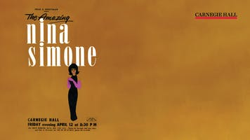 An illustrated vintage poster for a Nina Simone concert at Carnegie Hall